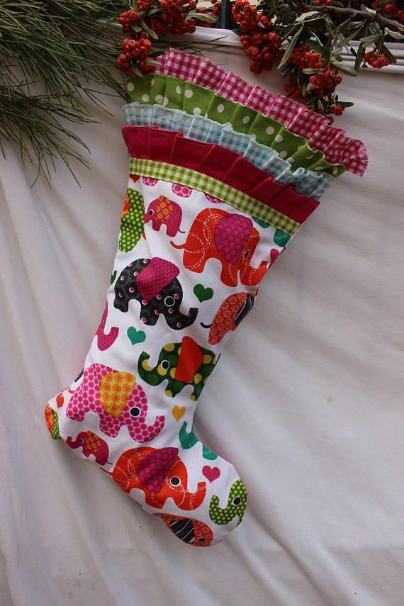 Kids Christmas Stocking Set Elephant Stocking READY To | Winter ...