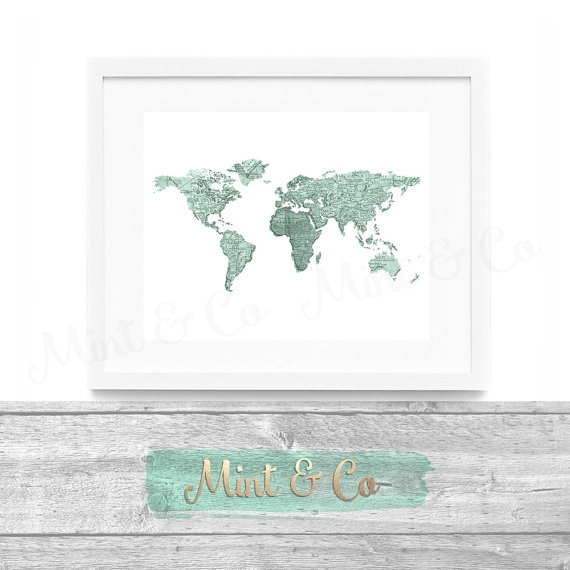 Vintage world map in french printable wall art decor instant vintage world map in french printable wall art by mintandcompany gumiabroncs Image collections