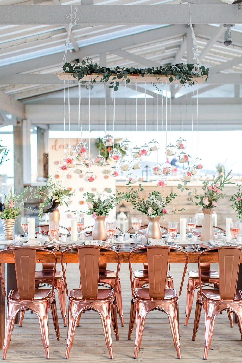 how to throw the prettiest rosé beach wedding | metallic