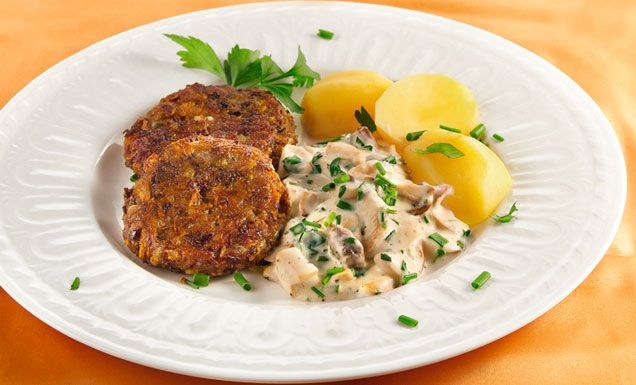 Kidneybohnen Puffer mit Möhre - Béchamel-Kräuterseitlinge zu Gemüsetalern Rezept   tegut...