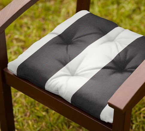 Outdoor Chair Cushion Black White Stripe Sunbrella Pottery Barn