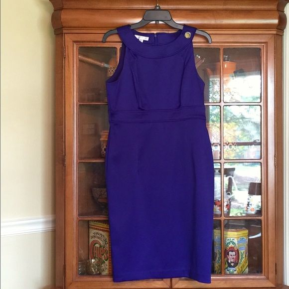 """London Times Dress. Size 10. London Times Dress. Size 10.  This dress is a deep blue/purple (a tiny bit darker than pic) and is very figure flattering.  Bust 36"""", high waist band is 32"""", hips 38"""" and length is 38"""" shoulder to hem.  Fits just below knee on me and I'm 5.7.   Like new. London Times Dresses"""