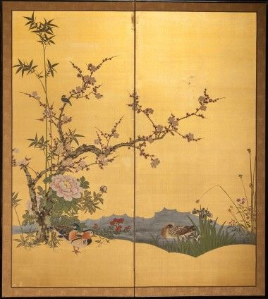 Japanese Screen: Peony, Plum and Bamboo with Wood Ducks on Gold Silk ...
