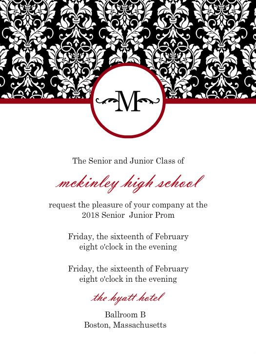 Charming Black, Red, White Damask Prom Invitation By PurpleTrail.com  Prom Invitation Templates