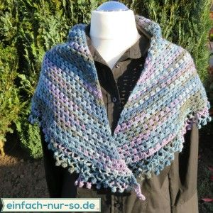 Half Granny Square Tuch Mit Spitze Häkeln Crochet Pinterest