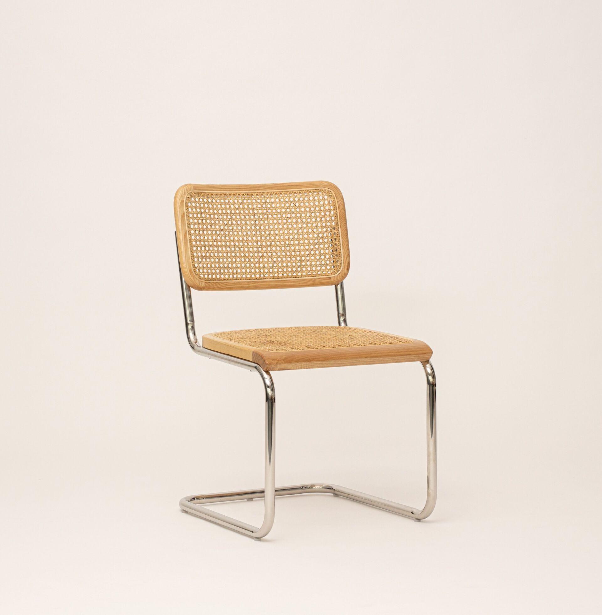Chrome & Cane Rattan Dining Chair - Natural