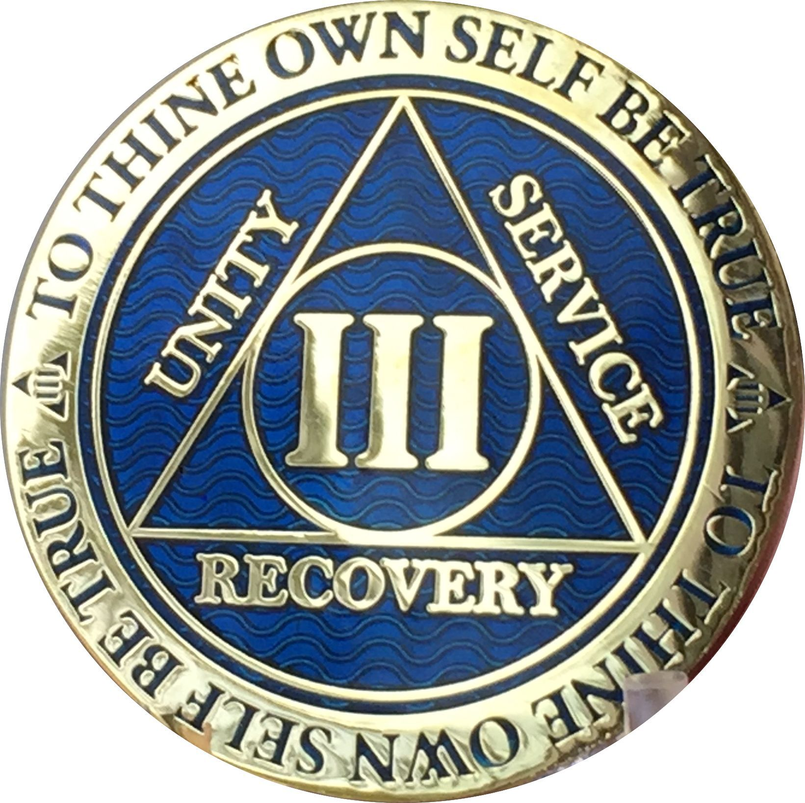 28 Year AA Medallion Blue Gold Plated Alcoholics Anonymous Sobriety Chip Coin