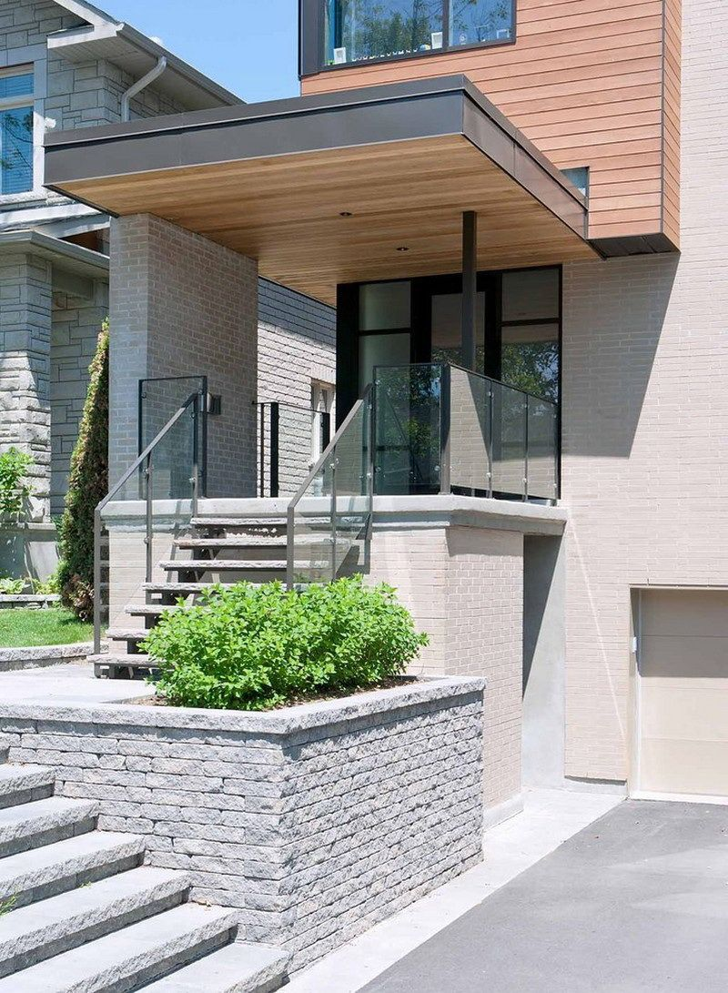 Architecture awesome modern house design with wooden cladding and brick wall featuring natural stone stair with glass banister including planter with