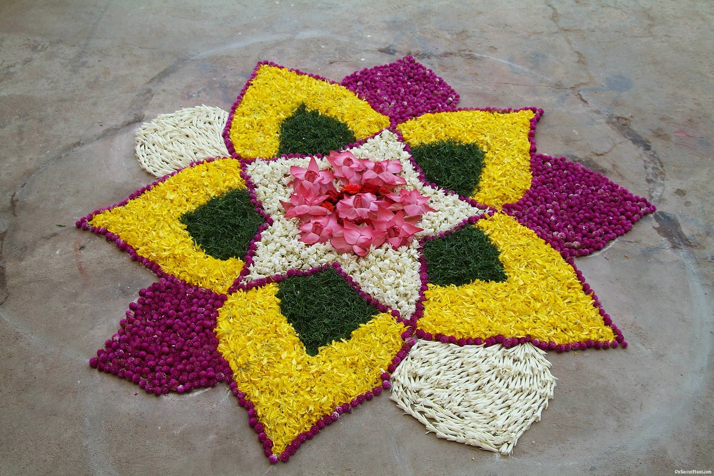Flowers Rangoli Designs for Diwali Colorful rangoli