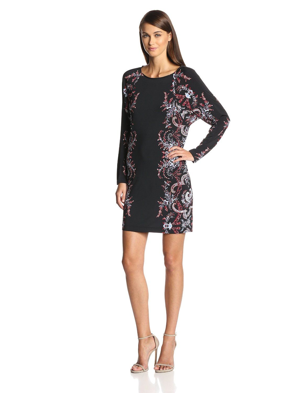 Shelbi Printed Dress with Cowl Back by BCBGMAXAZRIA