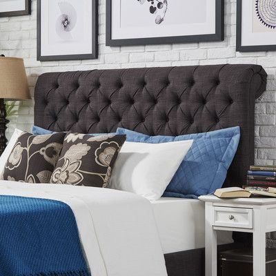 Three Posts Carthusia Queen Upholstered Panel Headboard Color: Dark Gray