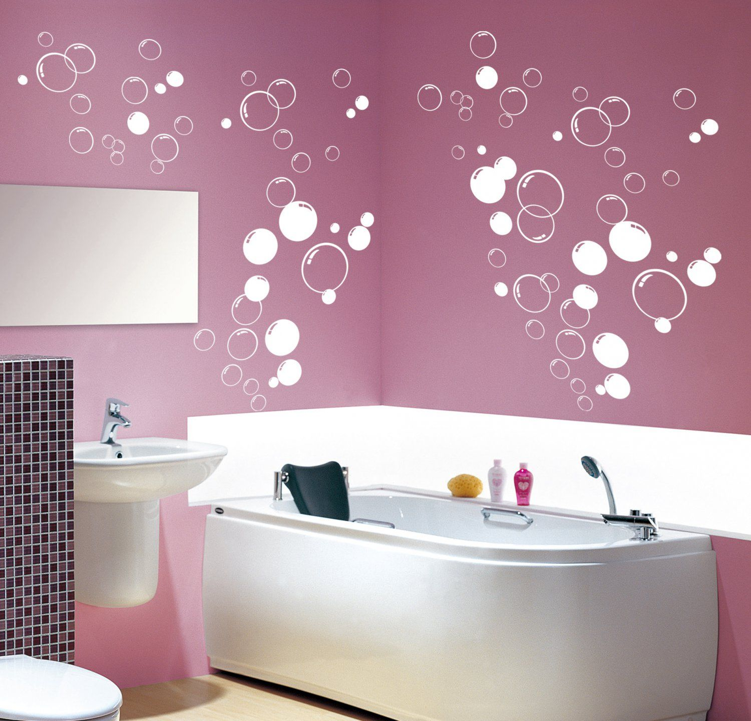 90x multi size bubbles bathroom shower door vinyl wall on wall stickers painting id=97500