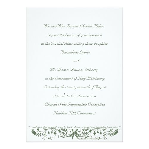 Catholic Wedding Set Invitation Template CC Catholic wedding - gala invitation wording