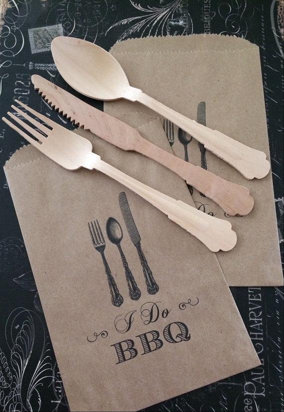 Printed Kraft Silverware Bag I Do Bbq Utensil By Ourdesigner