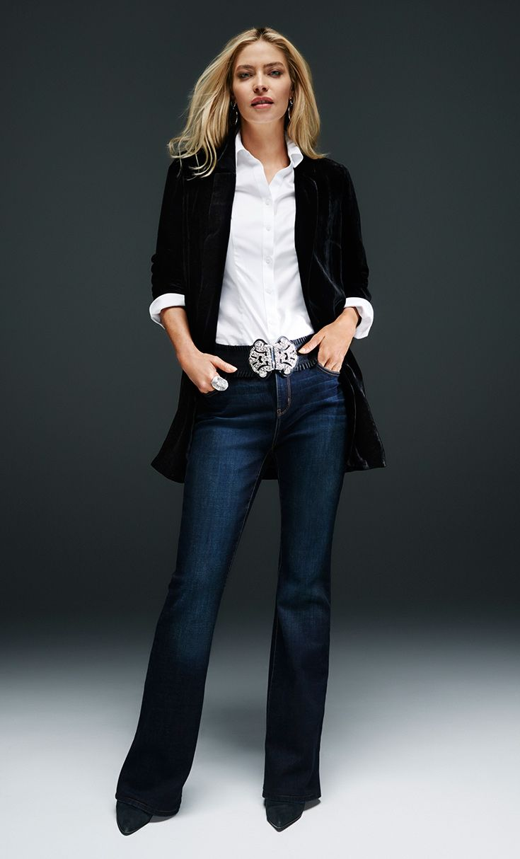 Party Dresses - Toss on a long velvet jacket to quickly refresh the classic  jeans-and-white-shirt combo. a9f6052fc07