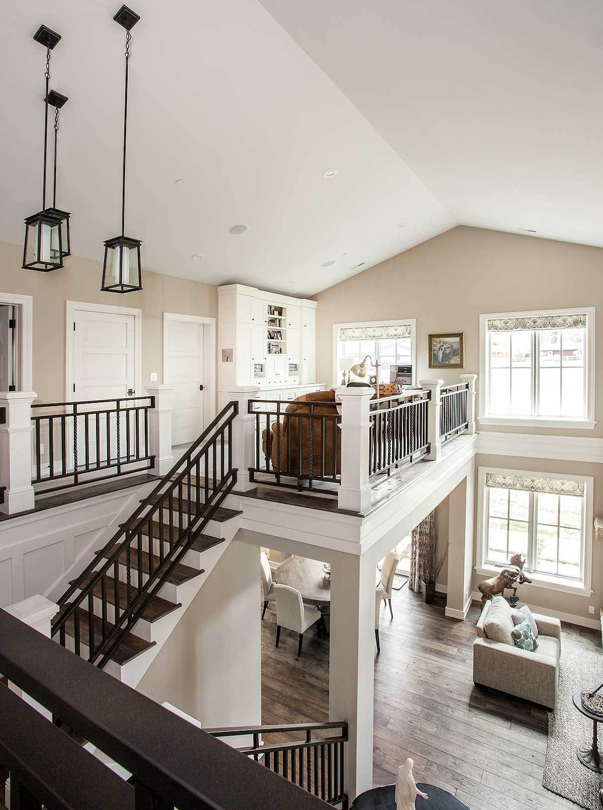 This Elegant Home Features A Stylish Staircase Leading To The Home