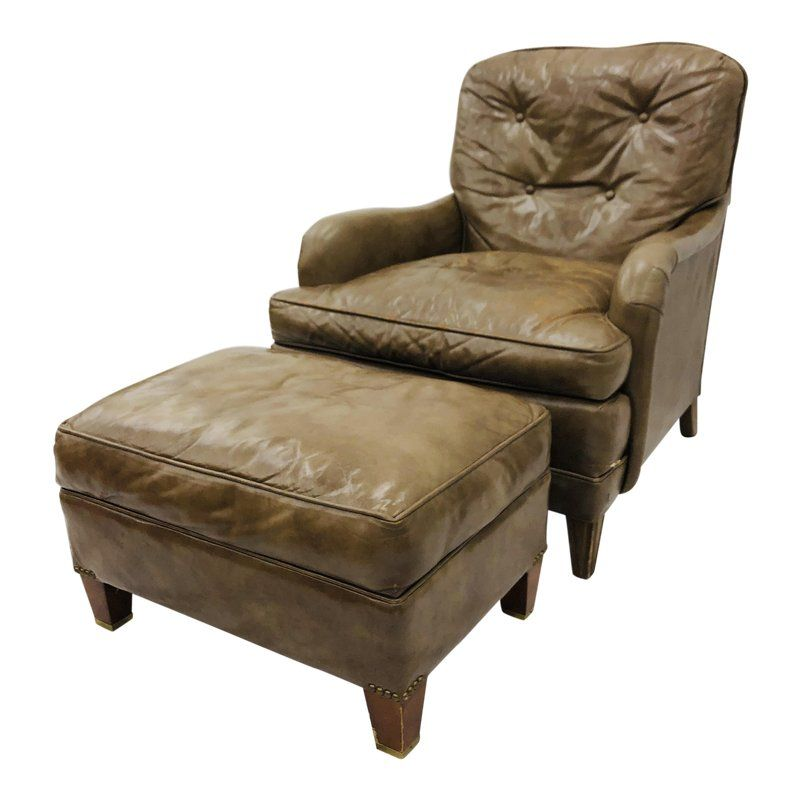 Brilliant Vintage Leather Chair Ottoman By Hickory Products In Machost Co Dining Chair Design Ideas Machostcouk