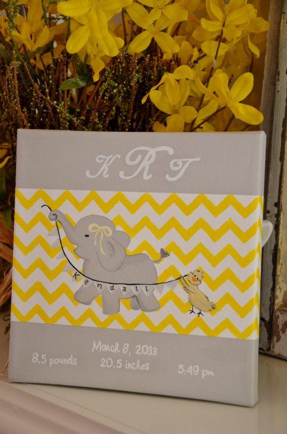 Birth Announcement Art Nursery Canvas Art Elephant by GiggleandCoo, $34.99