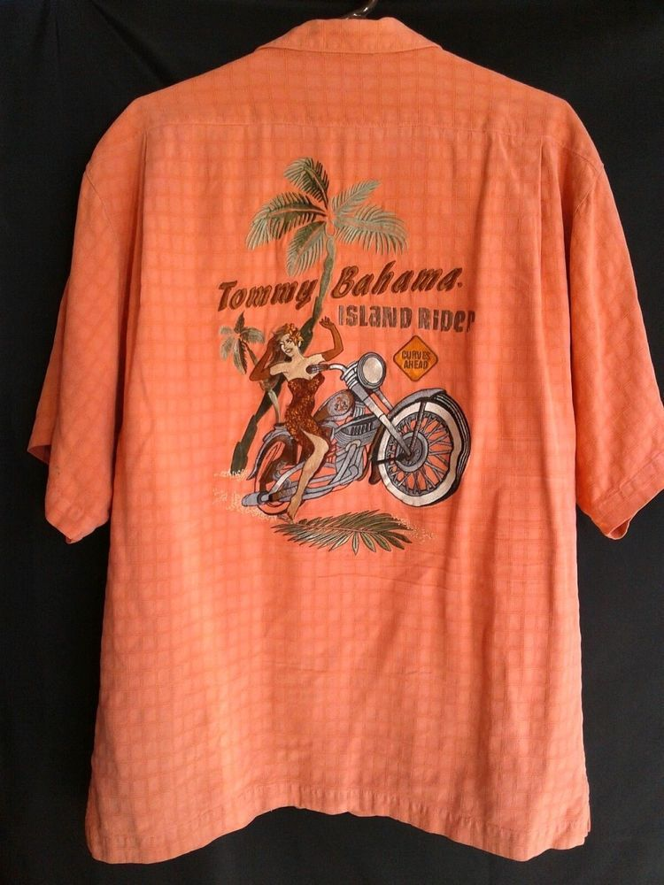 908c9cde9ce7 Tommy Bahama Mens Embroidered ISLAND RIDER Camp Shirt LARGE Orange 100%  SILK  TommyBahama  Hawaiian