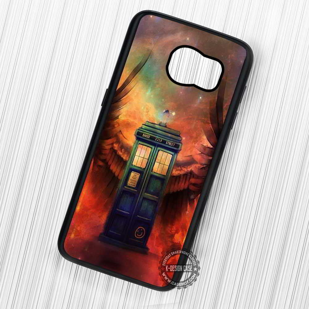 Blue Police Box with Angel Wings and Baker Street - Samsung Galaxy S7 S6 S5 Note 7 Cases & Covers