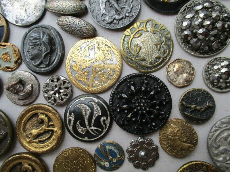 Assorted Antique Vintage Metal Buttons Flowers Animals Figural Steels Painted Noelhumphrey On Ebay Co Uk Steel Paint Vintage Metal Metal Buttons