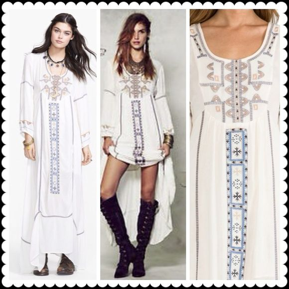 Free People Ivory Desert Winds Maxi Dress Unleash your free spirit in this gauzy blouson- sleeve prairie dress with bohemian - inspired embroidery and an airy back cutout for plains- roaming style without the horseback track. 100% rayon, machine wash cold.  Gently used! Free People Dresses Maxi