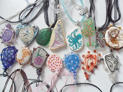 Hand painted art necklaces - Sea glass & beach pottery