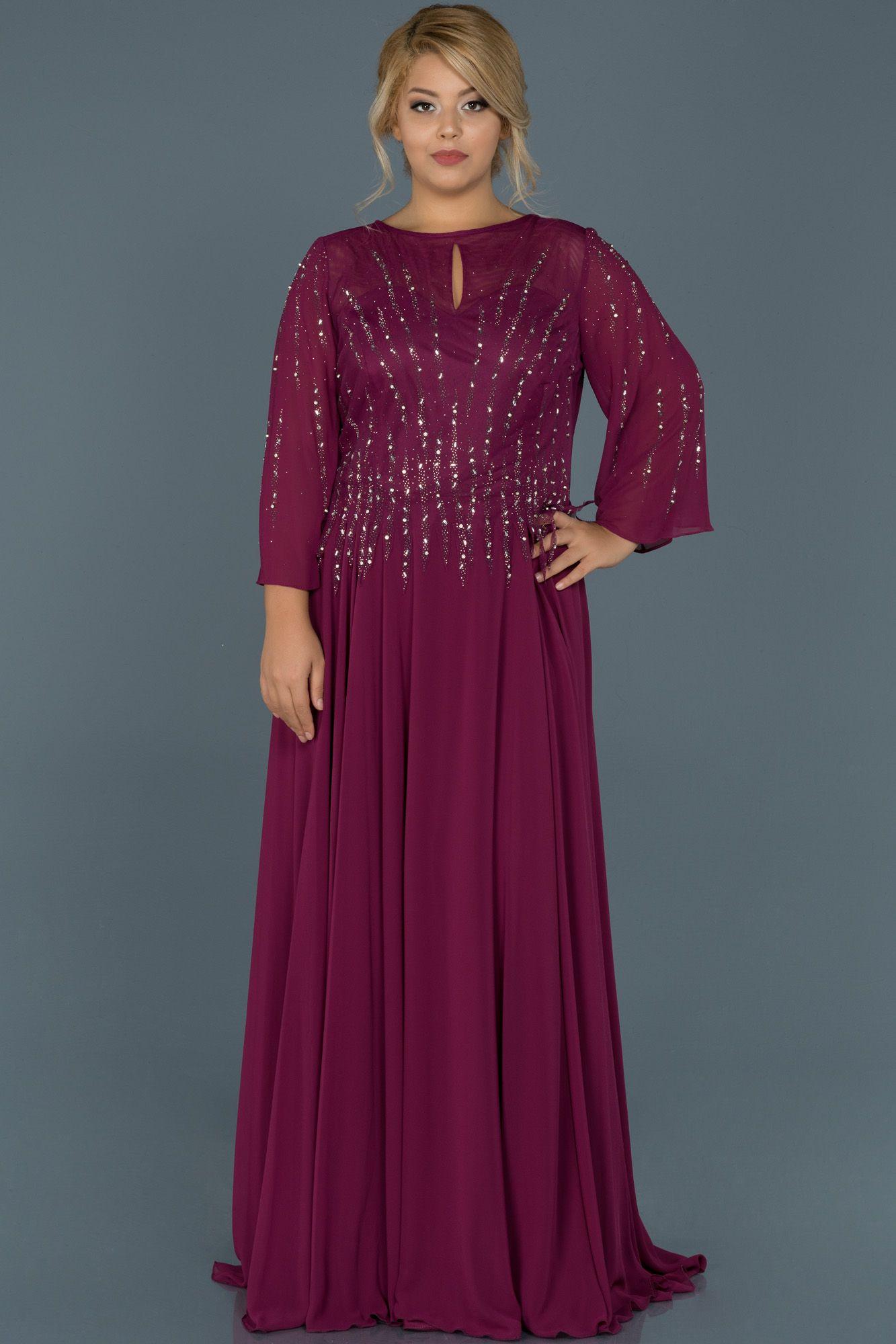 Violet Tasli Dekoltesiz Buyuk Beden Abiye Abu467 The Dress Elbise Modelleri Elbise