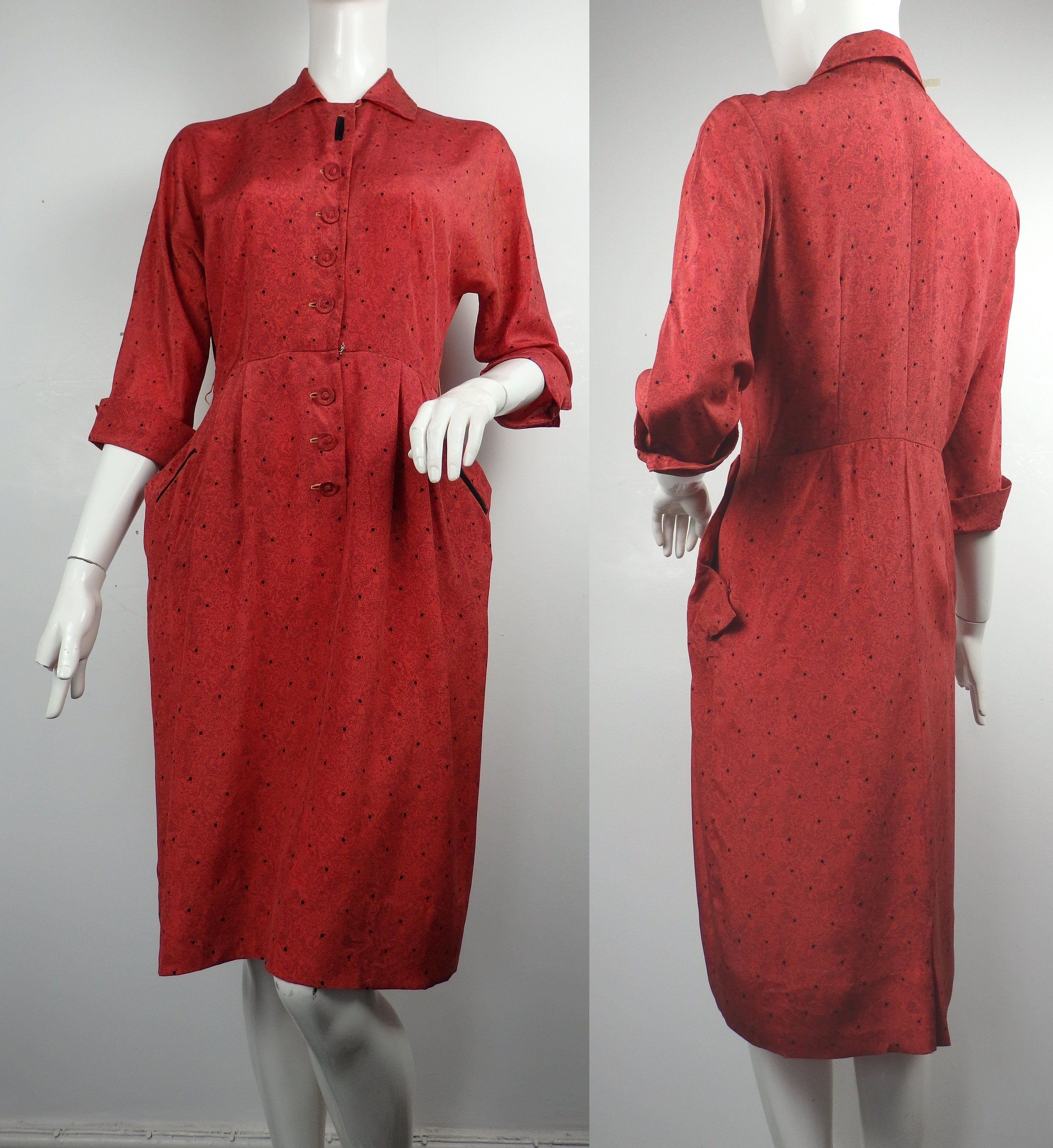 1940s Red Day Dress By Dale Lynn Vintage 40s Dress 1940s Etsy Dolman Sleeve Dresses Red Dress Maxi Day Dresses [ 3000 x 2753 Pixel ]