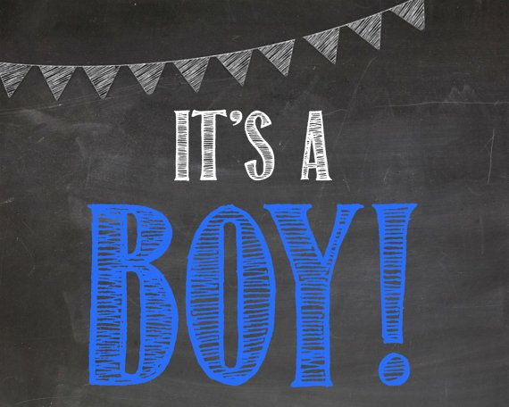 It S A Boy Chalkboard Sign Gender Reveal Poster Chalk