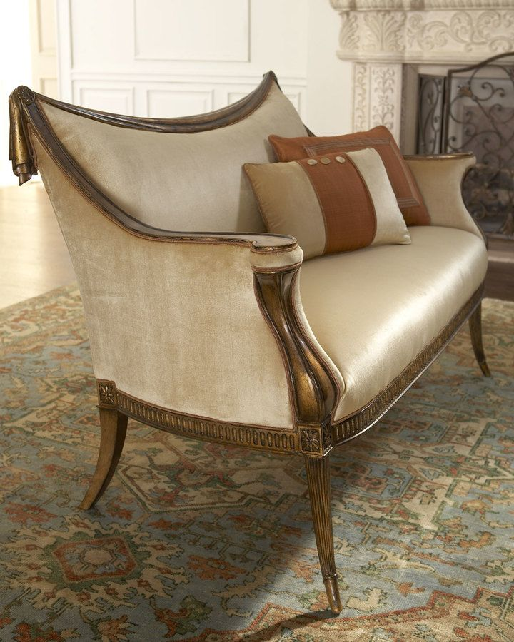 """Belina"" Settee, Transitional style settee upholstered in a rayon/cotton blend features a carved swag design. Frame is solid hardwood. Multiple throw pillows, as shown, are included. 58.5""W x 30""D x 37""T. Imported."