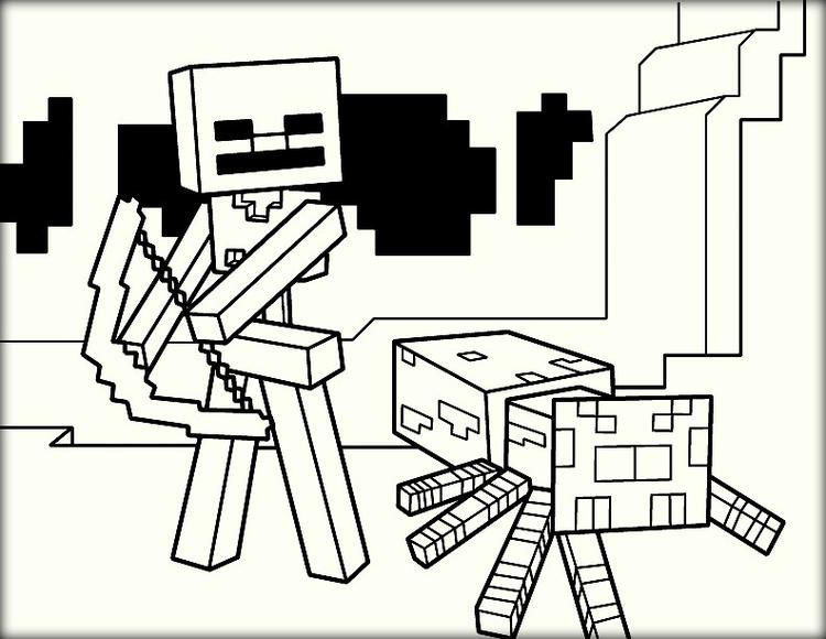 Minecraft Coloring Pages Wither Skeleton And Spider Minecraft Coloring Pages Cartoon Coloring Pages Coloring Pages