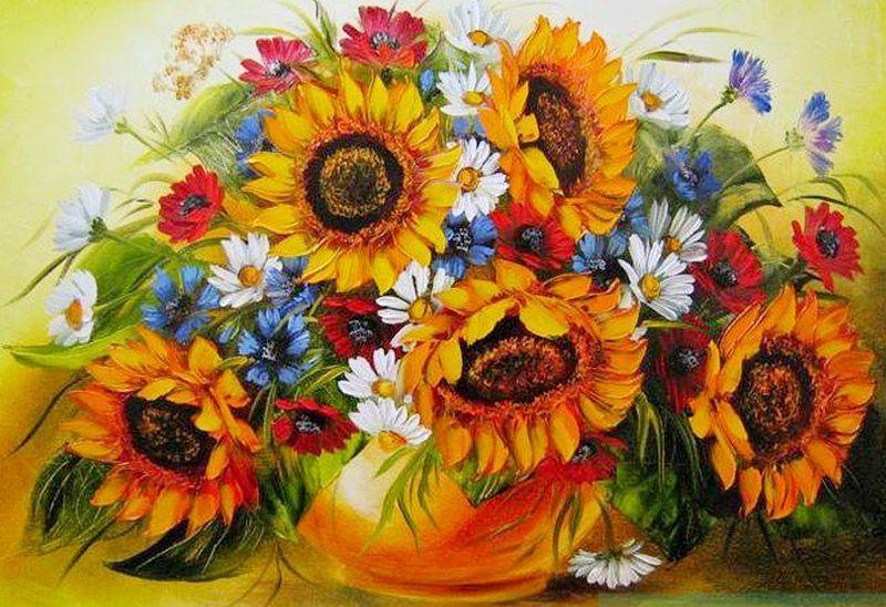 он, картинки полевые цветы и подсолнухи брюнеток