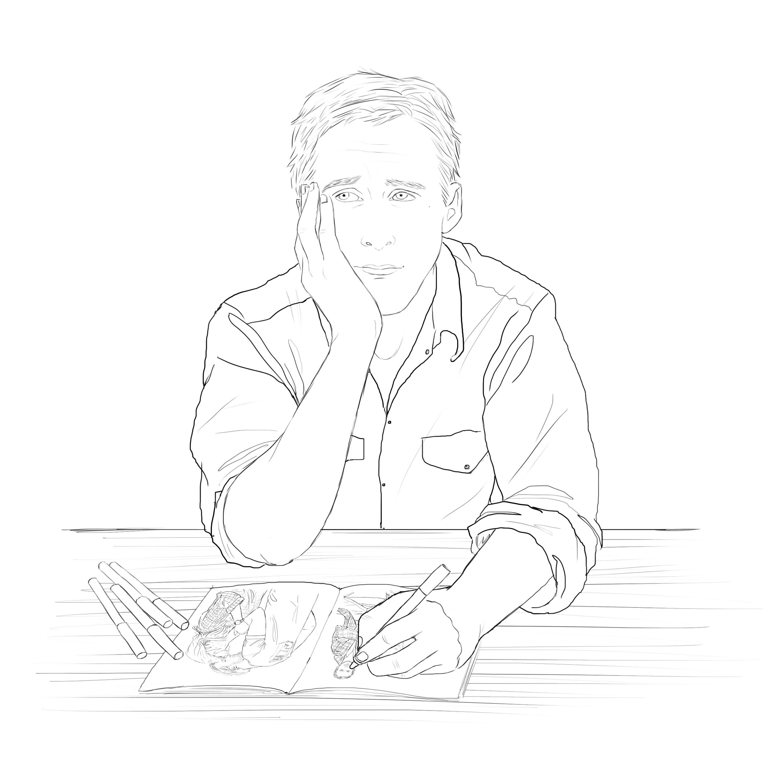 Ryan Gosling Colouring in Sheet. Spend some quality romantic time together with your celebrity crush. Here's a free download featuring the feminist, the knitter, the heartthrob, Ryan Gosling. Colour him good!