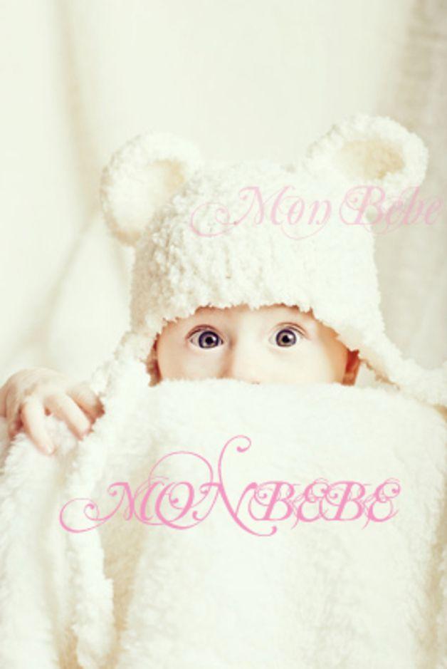 Mützen - Photo Props Neugeborenen Mütze Weißer Baby Bär - ein ...