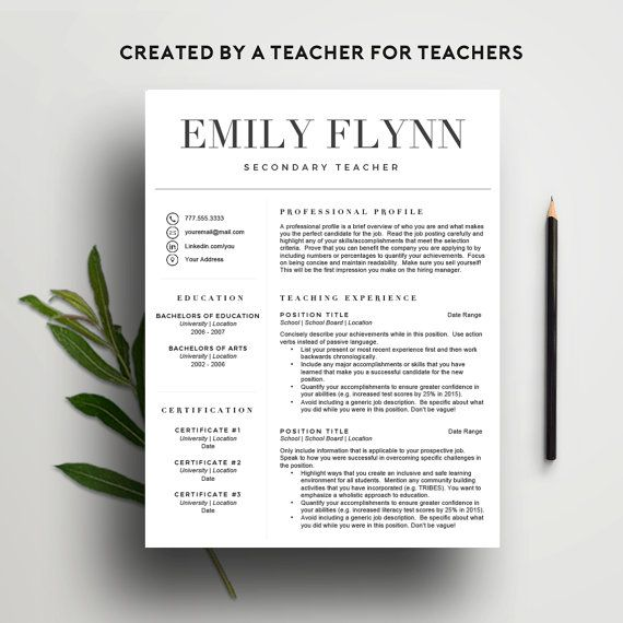 Teacher Cv Template For Word Includes Cover Letter  Icon Set