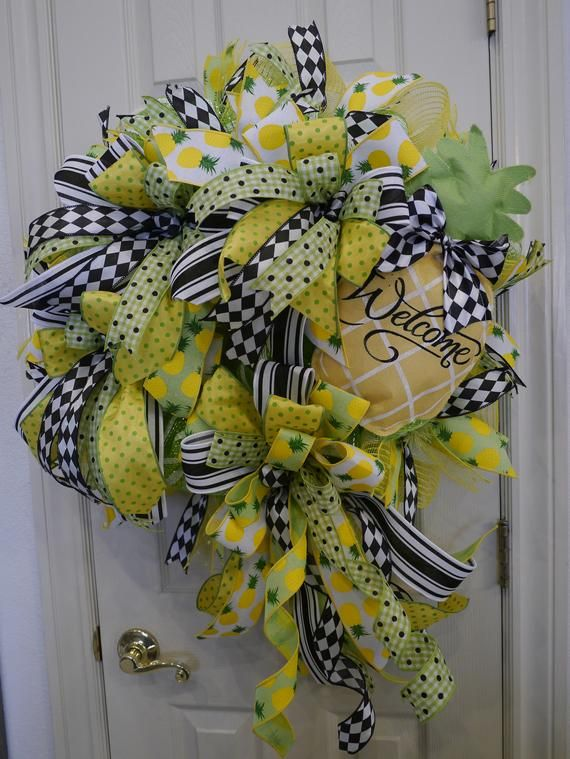 Photo of Pineapple Welcome Wreath, Summer Wreath, Pineapple Decor, Front Door Wreath, Pineapple Wreath, Welcome Wreath, Deco Mesh Wreath Summer