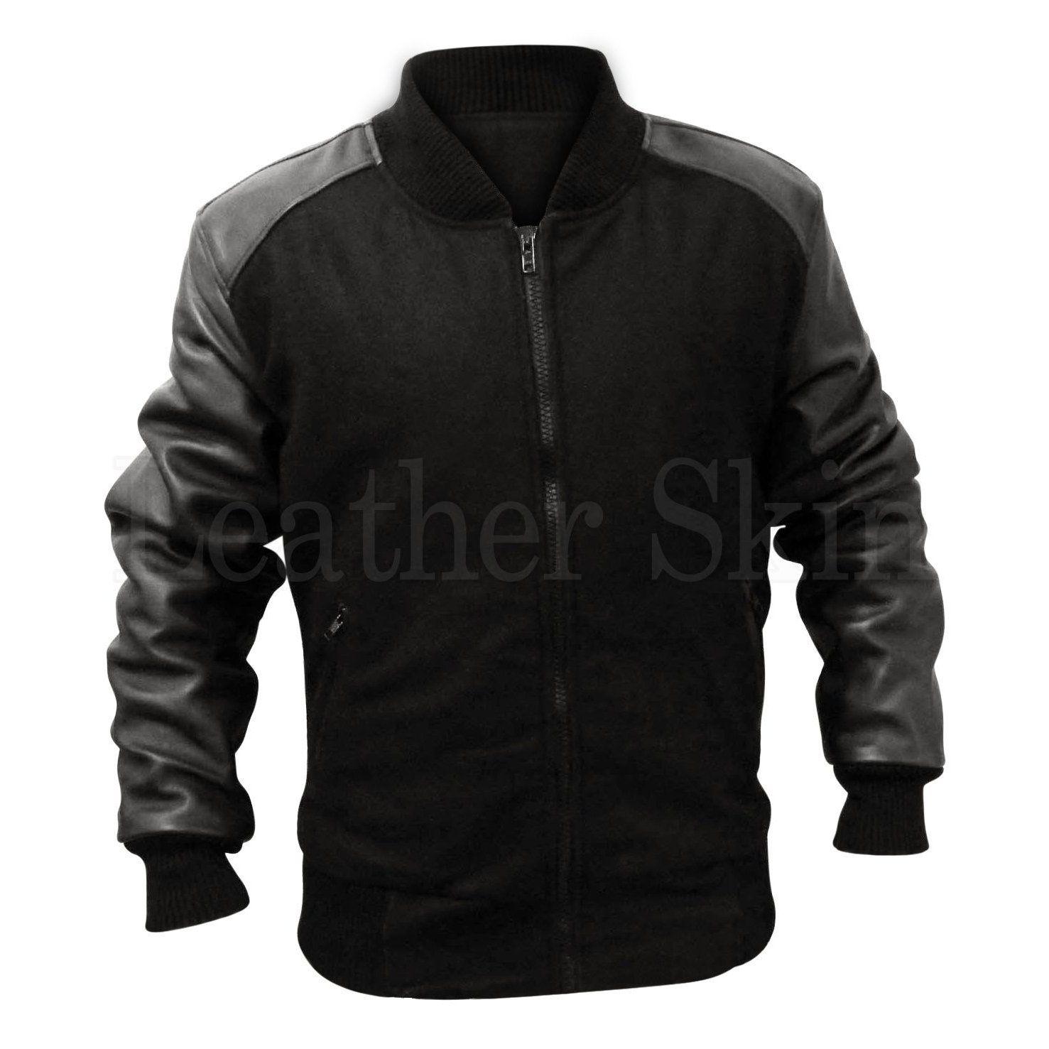 Men Black Fabric Premium Jacket With Leather Sleeves Elastic Bottom Leather Sleeve Jacket Best Leather Jackets Leather Sleeve [ 1477 x 1477 Pixel ]
