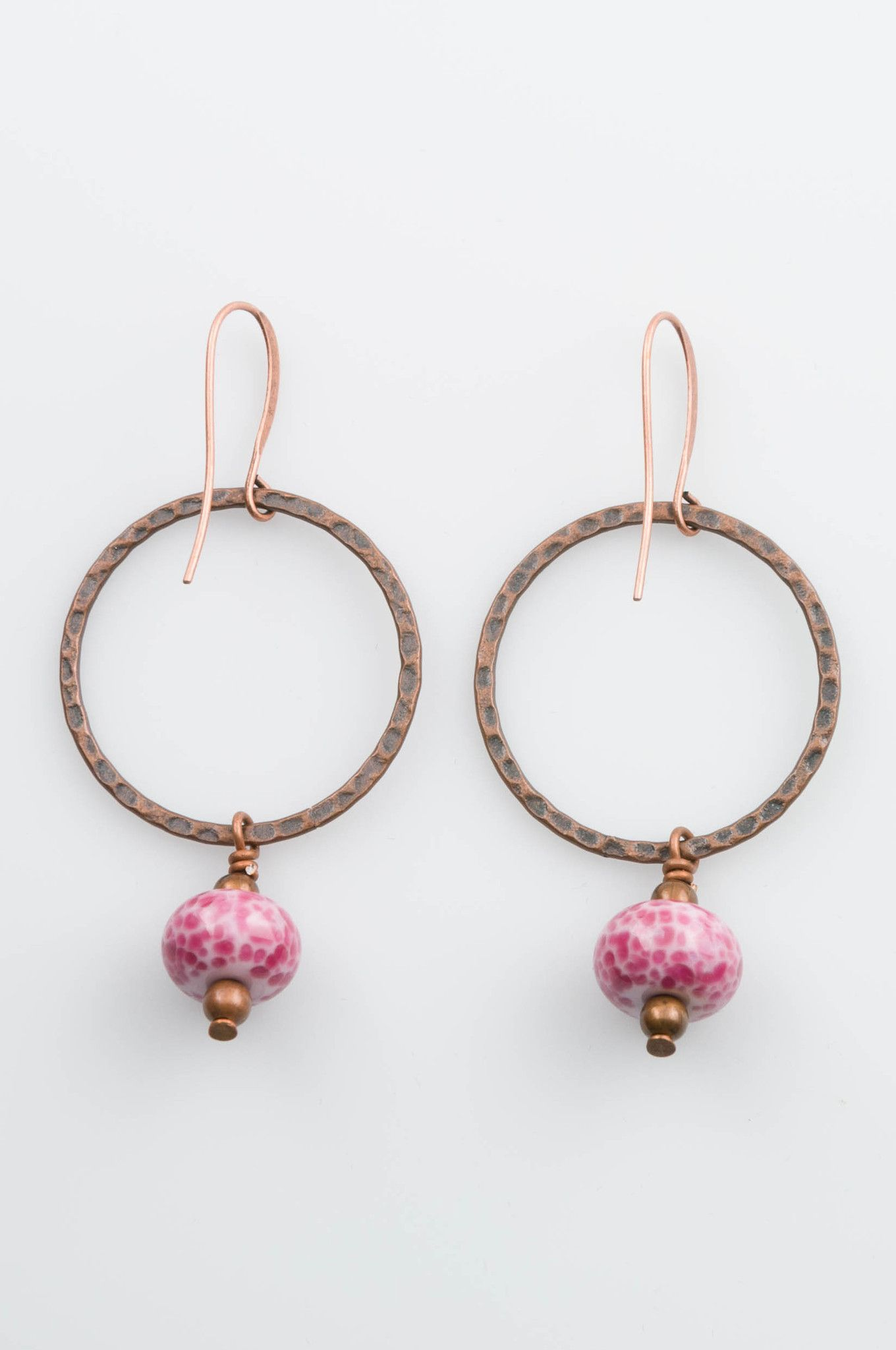 Copper and Pink Glass Hoop Earring   earring patterns   Pinterest ...