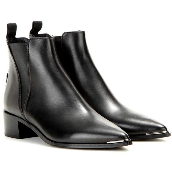 Acne Studios Jensen Leather Ankle Boots (5 000 SEK) ❤ liked on Polyvore featuring shoes, boots, ankle booties, zapatos, black, black leather bootie, black booties, black boots, ankle boots and bootie boots