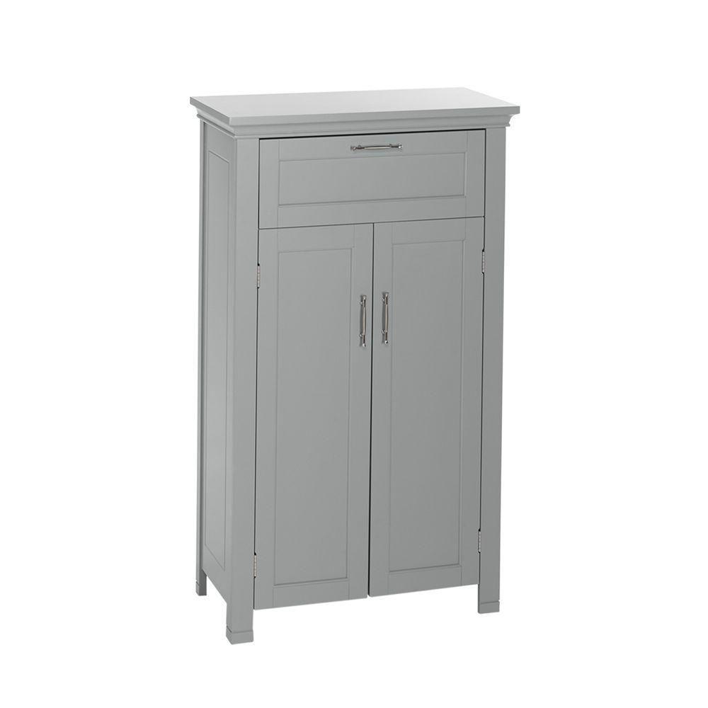 RiverRidge Home Somerset 23-3/4 in W. x 40 in. H x 12 in. D 2-Door Bathroom Linen Storage Floor Cabinet in Gray
