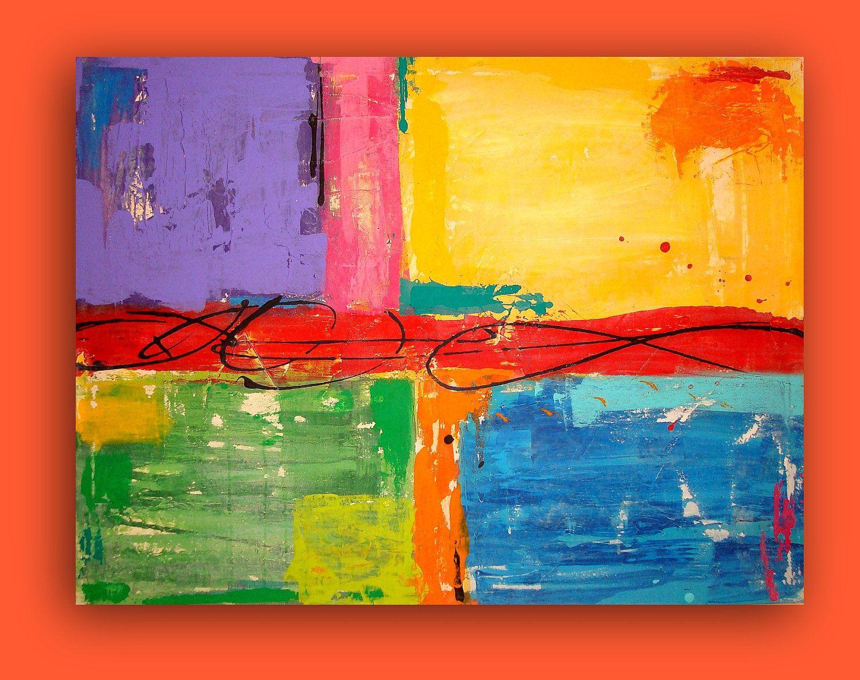 "ART on CANVAS Fiesta. 30x40x3/4"" Original Acrylic Abstract by Ora Birenbaum. $289.00, via Etsy."