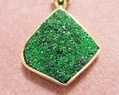 DRUSY QUARTZ PENDANT  14 kt yellow Gold - hand crafted - one of a kind
