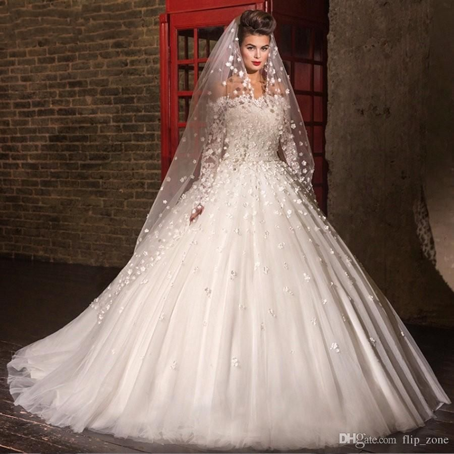 Cheap Off Shoulder Wedding Dresses Long Sleeves Lace Flowers ...