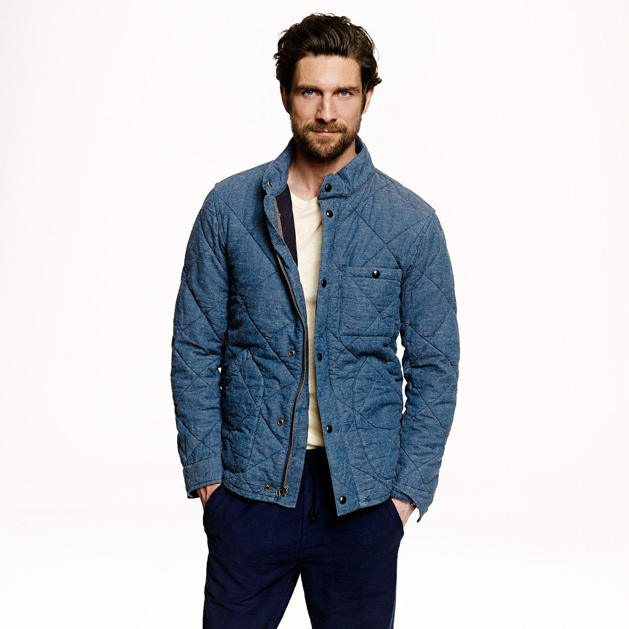 Broadmoor Quilted Jacket In Japanese Chambray Jackets Men Fashion Quilted Jacket Mens Jackets