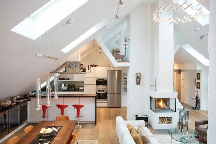 möbel für dachschräge moderne offene küche Möbel - Designer - küche in dachschräge