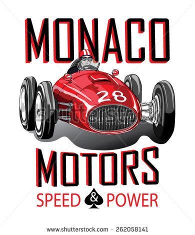 Vintage Race Car For Printing Vector Sport Racing