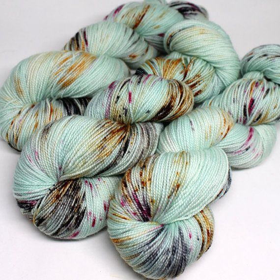 SW Sock 80/20 : Super soft luxury sock yarn dyed using professional acid dyes. This listing is for one skein.  Specs: 80/20: Superwash Merino - Nylon  Approx. 100 grams :: 400 yards Gauge: 7 - 8 stitches per inch on US #1-3 needles Wash in cool water with like colors. Lay flat to dry.  Each skein is one of a kind! The best effort is made to portray colors accurately. Colors may vary from monitor to monitor. Each batch is photographed individually. The skeins pictured above are the skeins…