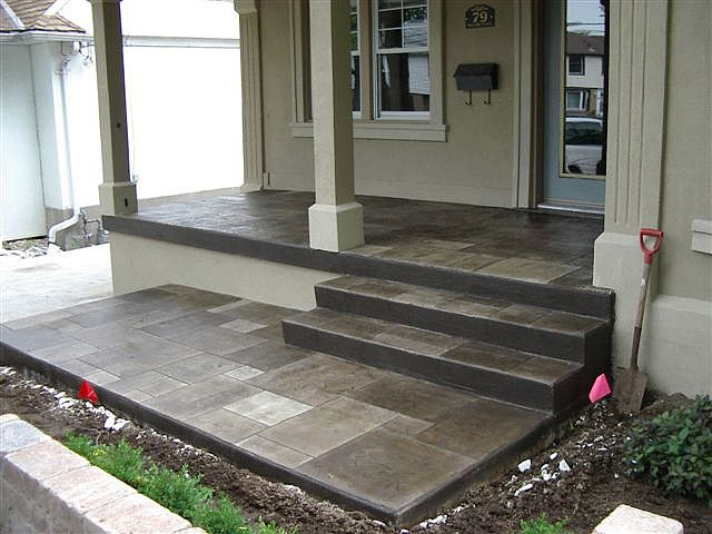 Slate Porch Concrete Front Porch Concrete Patio Concrete Porch