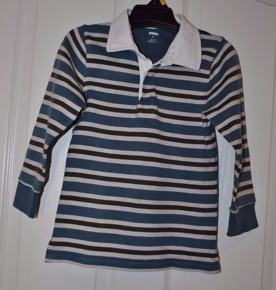 Gymboree Toddler Boys Blue Light Grey Dark Striped Rugby Shirt Size 5t
